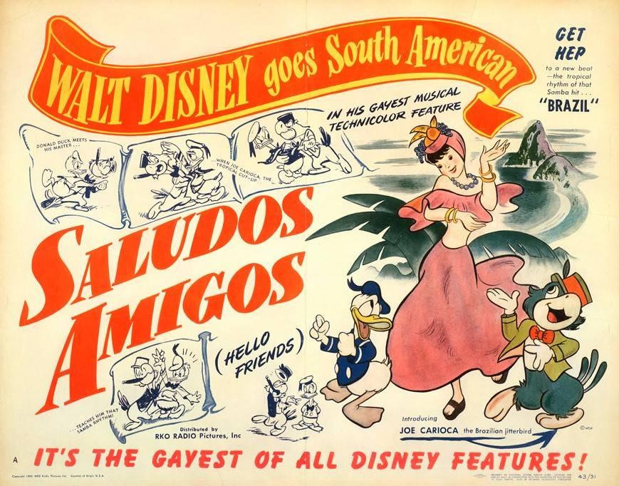 Cartaz de propaganda do filme Saludos Amigos. Disney. 1942.