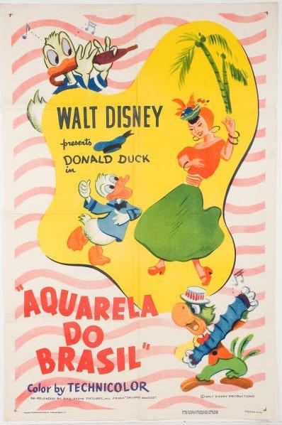 Cartaz de propaganda da animação Aquarela do Brasil. Disney. 1942.