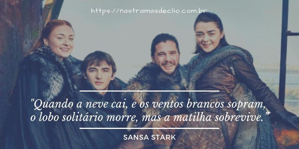 Imagem com frase da personagem Sansa Stark sobre a importância da união familiar dos Starks.