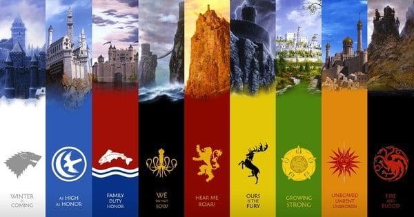 Brasões das famílias dos Sete Reinos de Westeros.