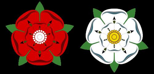 Símbolos das famílias Lancaster e York da Inglaterra durante a Guerra das Rosas.