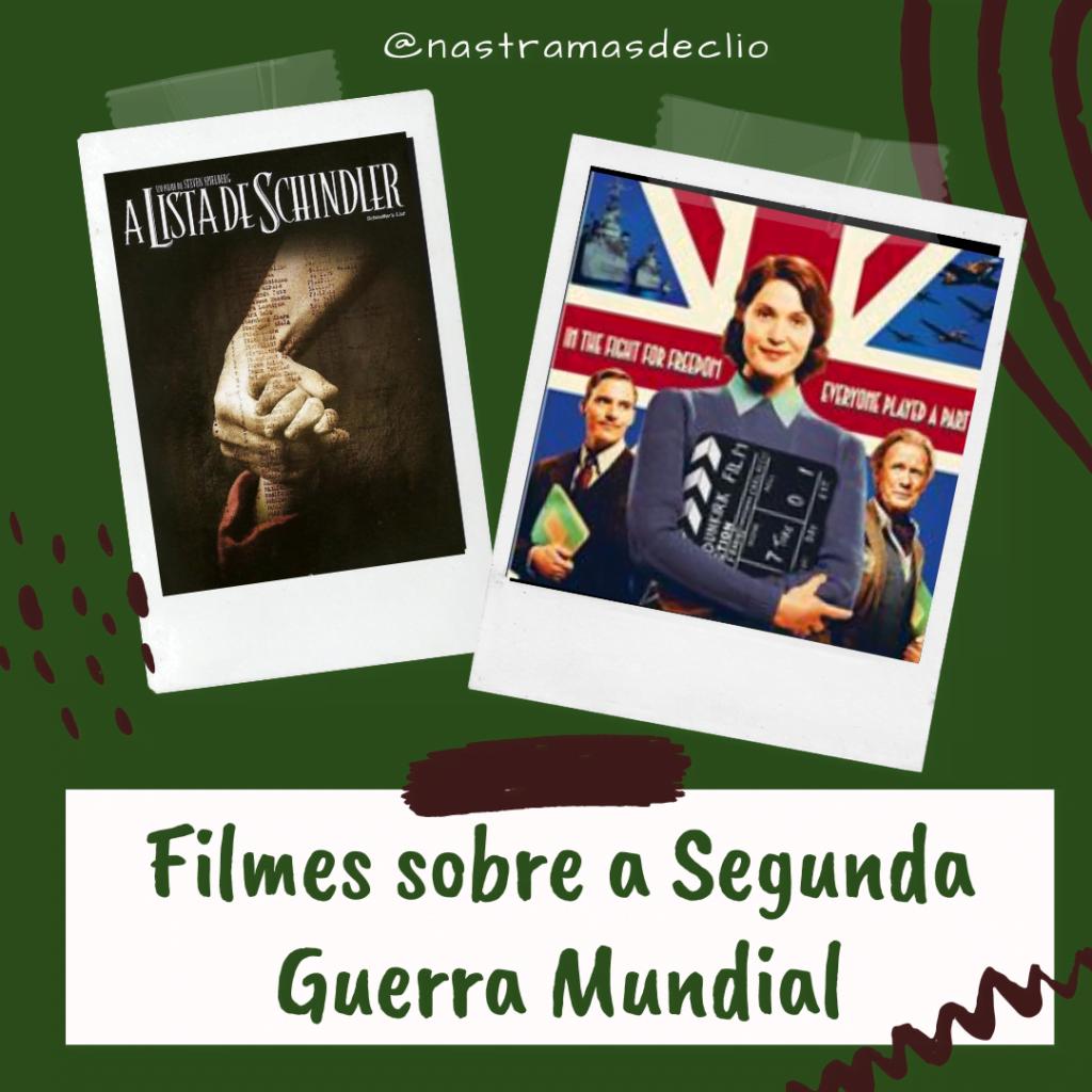 Post para o instagram com imagens promocionais de dois filmes retratados no texto, com o título Segunda Guerra Mundial.