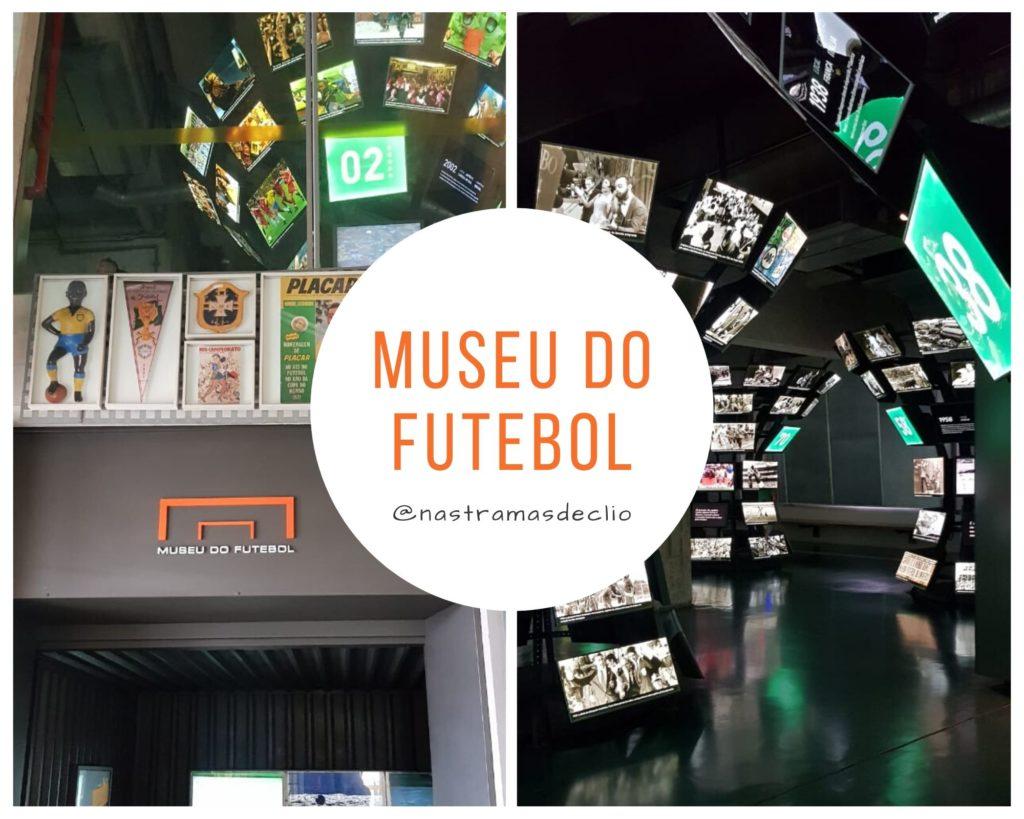 Montagem de fotos com imagens do interior do Museu do Futebol.