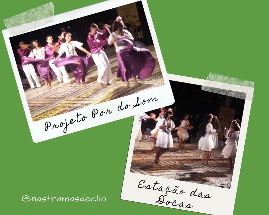 Imagens de apresentação de danças folclóricas no projeto Por do Som.