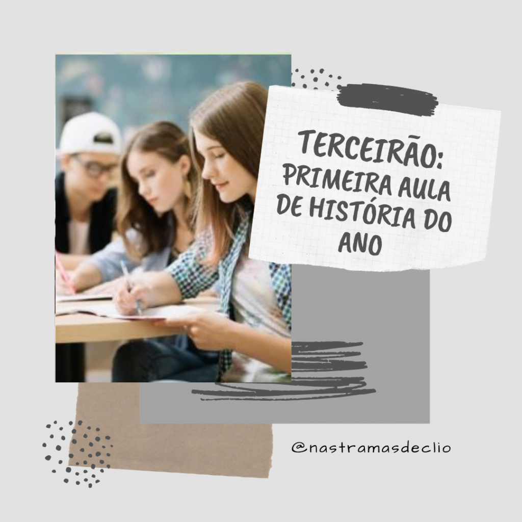 Post para o instagram com imagem de alunos do terceirão sentados anotando algo em cadernos, e o título da postagem.