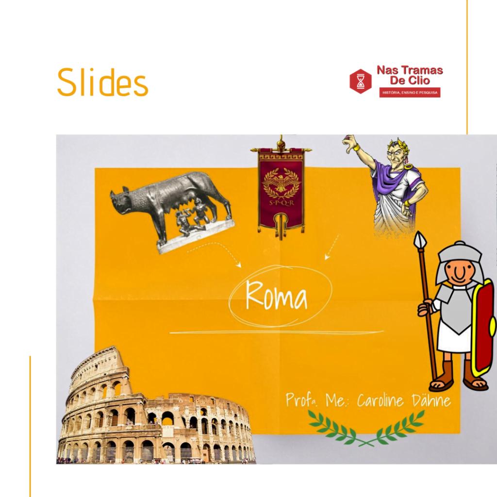 Publicação do Instagram com a capa dos slides sobre Roma Antiga.