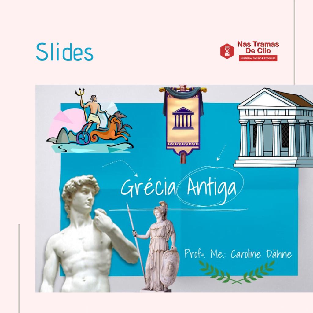 Imagem com vários símbolos gregos, com o título Grécia Antiga.
