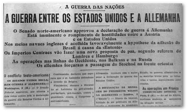 Recorte do jornal Estadão sobre a Primeira Guerra Mundial.