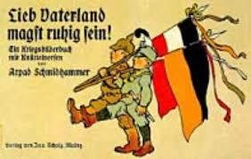 Cartaz de propaganda utilizado na Primeira Guerra Mundial.