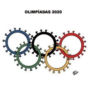 Charge relacionando o coronavírus com o adiamento das Olimpíadas de 2020.