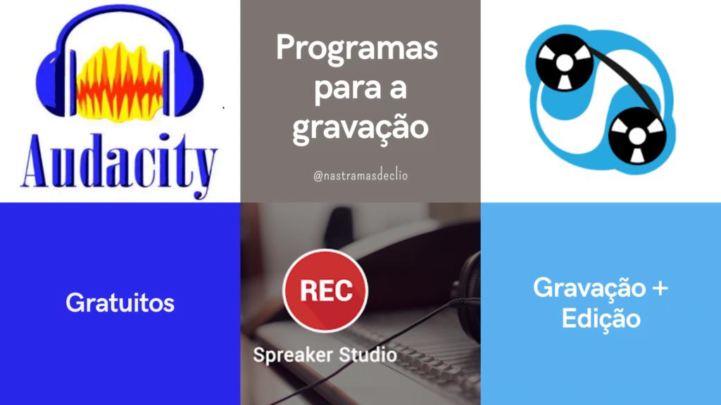 Montagem com a logo de programas para a gravação de Podcasts.