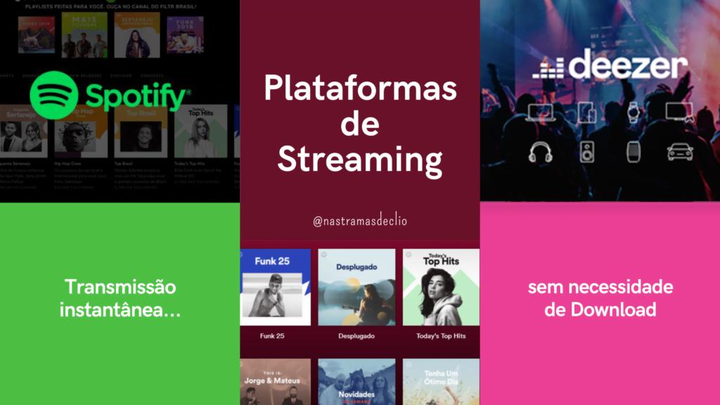 Montagem com as logos de duas plataformas de Streaming: Spotify e Deezer.