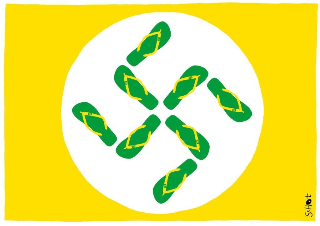Charge utilizando as cores da bandeira do brasil, com uma suástica formada por chinelos havaianas ao centro.