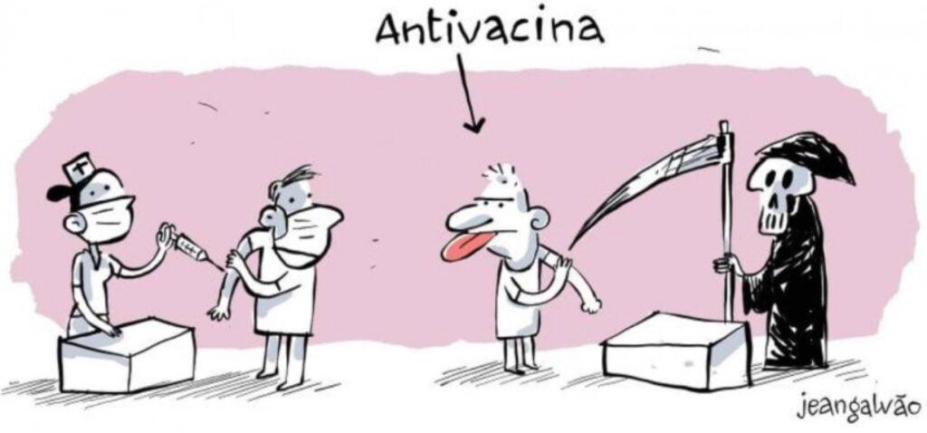 Charge referente ao movimento antivacina.
