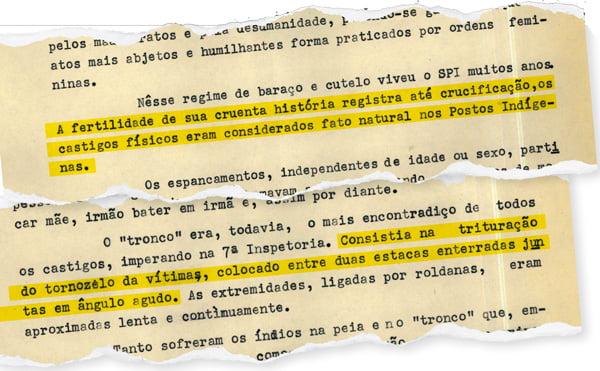 Na imagem há um recorte de documento com frases grifadas em amarelo sobre as torturas causadas aos indígenas pela Ditadura Militar.